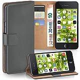 moex iPhone 6S Plus | Hülle Dunkel-Grau mit Karten-Fach 360° Book Klapp-Hülle Handytasche Kunst-Leder Handyhülle für iPhone 6 Plus / 6S + Plus Case Flip Cover Schutzhülle Tasche