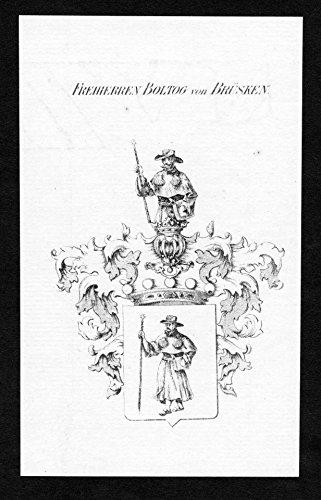 Freiherren Boltog von Brüsken - Boltog von Brüsken Bruesken Wappen Adel coat of arms heraldry Heraldik Kupferstich