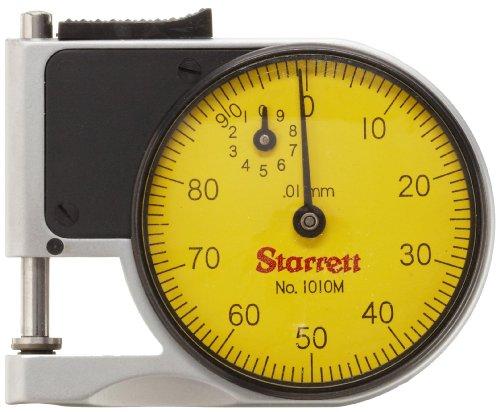 Starrett 1010MZ Messuhr Pocket Gage, 9.525mm Vorbau Dia, Zifferblatt gelb, 0–100Lesen, 0–9mm Range, 0.01mm Graduation (6 Mm Vorbau)