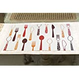 A Vintage Affair Table Mat Spoon, Knives & Fork Table Mat Kitchen & Dining Placements For Home And Kitchen Dinner Table Decor For Home / Kitchen / Wedding /Casual Gift.