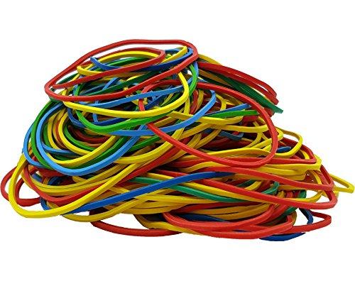 Gummiringe Haushalts-Gummis Gummibänder bunt gemischt farbig sortiert 200g im Beutel für Haushalt, Arbeit, Büro 200 Gramm