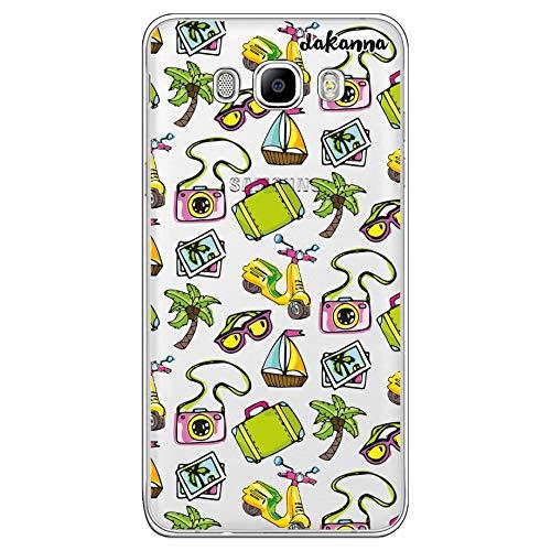 dakanna für [Samsung Galaxy J7 2016 Flexible Silikon-Handy-Hülle [Transparenter Hintergrund] Sommer Banner Muster mit Roller, Brille, Boot und Palme am Strand Design, TPU Case Cover Schutzhülle