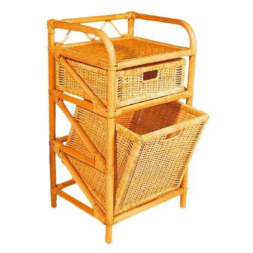 Hansen 2439/1-1 Rattanregal Schublade und Wäschebehälter 45 x 35 x 95 cm honig