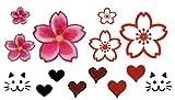 Temporäres Fake Blumen Herz Rot Tattoo entfernbare klebe Henna Festival Schwarze Körperkunst Temporary für Frauen Männer Kinder