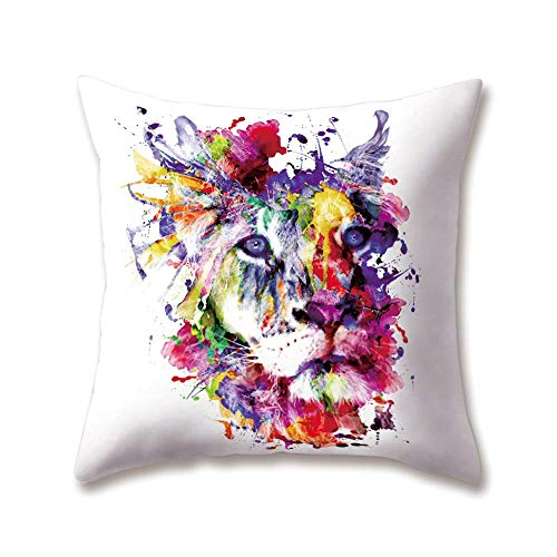OPoplizg Soft Plush Zoo Cushion Covers Animal Lion Tiger Leopard Printing 45cm x 45cm(18 x 18inch) Throw Soft Plush Pillow Cases for Home Sofa Bed Decorative -
