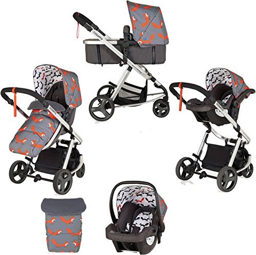 Cosatto Hold Mix Carseat Mister Fox Cosatto Includes - Pram & Pushchair, Hold Car seat, Adaptors, Apron and Raincover Suitable from birth up to 15kg, One unit transforms from newborn pram mode into pushchair mode. Space saving. No need to buy separates. 'In or out' facing pushchair seat lets them bond with you or enjoy the view. 1