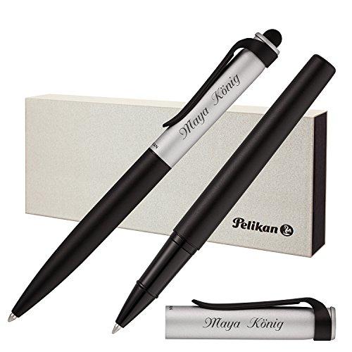 Pelikan Schreibset Stola II Kugelschreiber Stylus und Tintenroller mit Laser-Gravur Schwarz-Silber