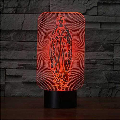 Nouveauté 7 Couleurs Changement Led Lampe De Bureau Vierge Mary Forme Home Lighting 3D Usb Bébé Sommeil Décor Veilleuse De Vacances Cadeau Créatif