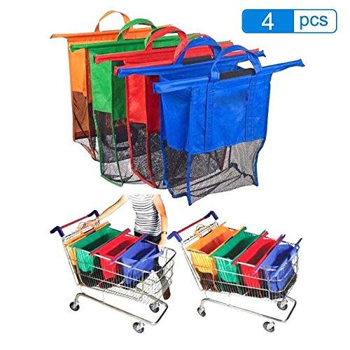 CHIPYHOME Kit Completo de 4 Ecobolsas diseñadas en tamaños escalados Exactos para Carro Compra Plegables Reutilizables (Verduras, Pescados, conservas.) y al Coche y a casa