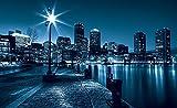 Fototapete Tapete ForWall Stadt und Wolkenkratzer bei Nacht P8 (368cm. x 254cm.) Photo Wallpaper Mural AMF283P8 Stadt New York Wolkenkratzer Fenster Gebäude