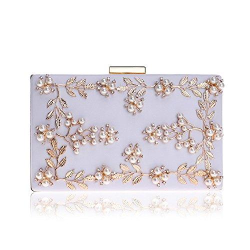 Frauen-Blumen-Abend-Handtasche, verlässt Perlen-kleine Partei-Taschen-Brauthochzeits-Geldbeutel-Handtasche - Weiß -