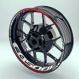 Felgenaufkleber Set Honda CB500F für Motorrad   17 Zoll   Felgenrandaufkleber & Felgenbettaufkleber   Vorder- & Hinterreifen Komplett-Set (Einfach - glänzend)