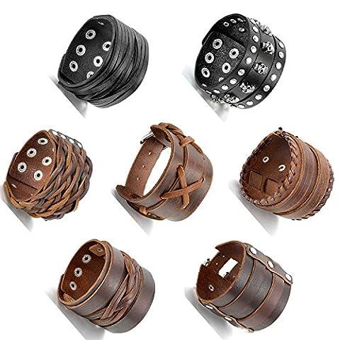 Aroncent 7pièces Cuir Corde Alliage Bracelet pour Homme Menotte Réglable