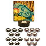 TYYC Diwali Gifts Relaxing Lord Buddha Tealight Holder Diwali Decoration Candle Lights For Puja, Home, Office Set Of 21