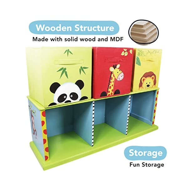 Fantasy Fields - Sunny Safari themed Wooden Drawer Cubby with 3 Canvas Drawers |Hand Crafted & Hand Painted Toy Storage Unit Toybox | Child Friendly Water-based Paint Fantasy Fields By Teamson Colourful organised storage cabinet for those keepsakes, toys, games and nik naks. Dimensions 121.92 x 37.47 x 43.82. 3 canvas bags included Sturdy and free standing. Suitable for Kids Bedroom and Playroom enchancing your little ones organisational skills Teach your kids colour and character recognition and enhance their imaginative minds.  Great for encouraging children's independence 3