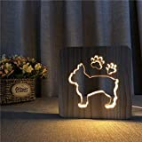 3D Bulldog Francese Luce Usb Notte Led Cane Di Legno Luce Baby Room Decorazione Bianco Caldo Festa Del Papà
