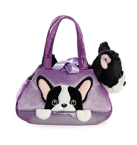 Peluche Cachorro Frenchie con bolso malva para llevar