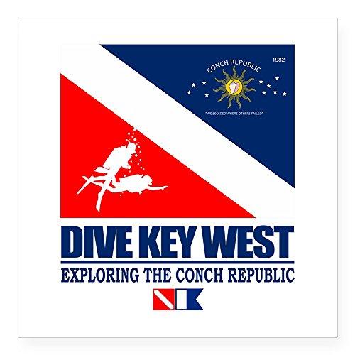 CafePress Aufkleber Dive Key West Small - 3x3 weiß (Key West Tauchen)