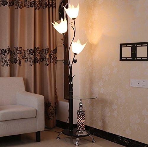 MMM- Eisen Couchtisch Stehleuchten Moderne chinesische Minimalist Mode Stehlampe mit Teetisch Vertikale Beleuchtung ( Farbe : Weiß )