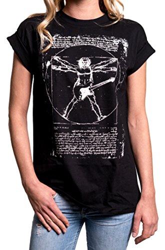Band Shirt Vintage Gitarre Da Vinci - Musik Oberteile lässiges Oversize T-Shirt Damen große Größen schwarz M (Band Musik T-shirt)