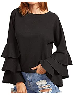 StyleDome Donna Blusa Maglietta Manica Lunga T-Shirt Top Elegante Casual Maglia Girocollo Autunno Nuovo