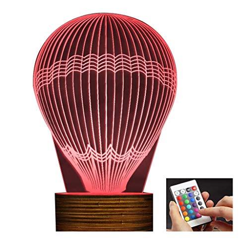 3D dekoratives Nachtlicht Heißluft-Ballon-optische Täuschungs-Nachtlicht-Geschenk der Lampen-LED LED 3D passend für Geburtstags-Weihnachtskind Erwachsener USB angetrieben mit Fernbedienung Ändern Sie