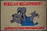 Wash+Dry Waschbare Fußmatte - ©Uli Stein - Maus - Finanzamt ca 50x75cm lustiger Fußabstreifer mit Cartoon Motiv