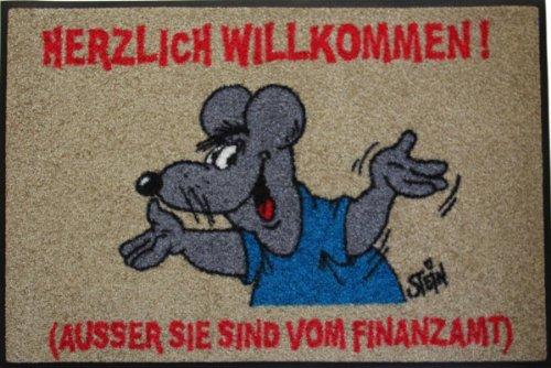 Wash+Dry Waschbare Fußmatte - ©Uli Stein - Maus - Finanzamt ca 50x75cm lustiger Fußabstreifer mit Cartoon Motiv (Finanzamt)