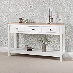 Laura James White Console Table | 3 Drawers shelf
