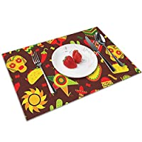 QCFW Placemats Place Mats Sets of 4 Table Mats PVC Washable Mat Heat Resistant Mat for Kitchen Garden BBQ Outdoor Mexican Fiesta Tequila Cactus