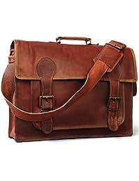 Anshika International Original Leather Laptop Office Messenger Bags For Men / Women - Brown - 15 Inch Length,11...