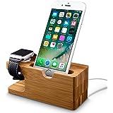 Apple Watch Stand, Fullmosa® Madera y Bambú Soportes de carga Soporte Docking Station Soporte para Cradle para iPhone y Apple Watch Series1 Series 2