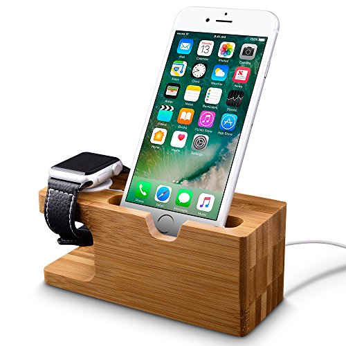Apple Watch Stand, Fullmosa® Bambus Dockingstationen Ladestation für Apple Watch und iPhone 5 / 5S / 5C / 6 / 6 PLUS /6S/ 6S Plus und Android-Smartphones