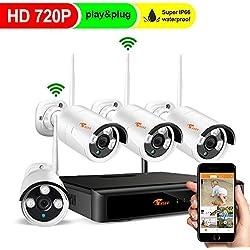 Cámaras De Vigilancia Inalámbricas, Wifi De Seguridad Kit 720P Inalámbrico Sistema De Videovigilancia Sin Disco Duro (4 canales 1080P NVR, 4 Cámaras, IP66 Impermeable)