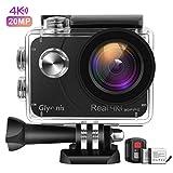 Glymnis Caméra Sport 4K Ultra HD Wi-FI 20MP EIS avec Télécommande Appareil Photo Caméscope Étanche 40M 170°Grand-Angle avec 2 Pouces LCD 2 Batteries Rechargeables 1350mAh