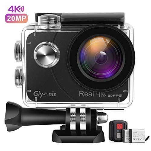 Glymnis Action Cam Echte 4K 20MP Sport Action Kamera Touchscreen EIS Actioncam 40M Wasserdicht Unterwasserkamera WiFi Fernsteuerung Helmkamera Full HD mit 2 1350mAh Akkus und 18 Zubehör