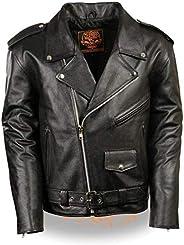 Milwaukee Leather Men's Classic Police Style M/C Jacket - Lkm1781-B
