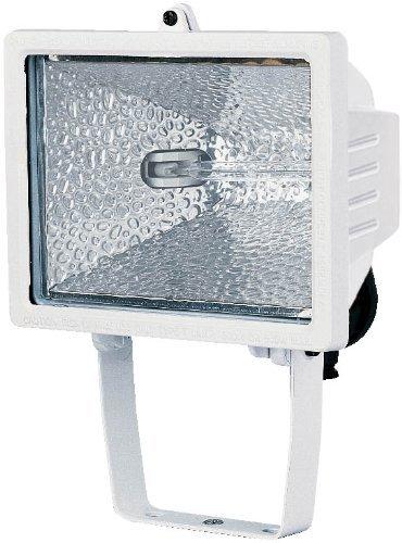 Electraline 63003 - Proyector halógeno con soporte de montaje para exterior (IP54, 400 W) color blanco