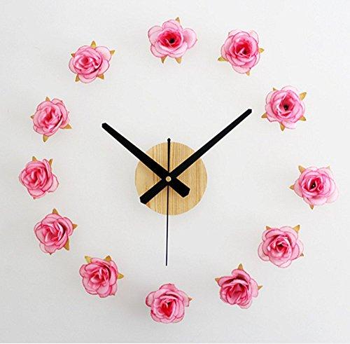 Romantische Rose Peach (Bemodst® Schöne Blumen rahmenlose Romantische Rose Dämpfer Wanduhr DIY Wanduhr Raumdekoration Peach pink)
