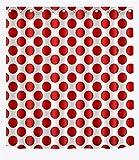LB Punkt Muster Entwurf Duschvorhang Wohnkultur Große rote Punkte,weißer Hintergrund 150W x180H cm,wasserabweisend,Polyester Stoff,Badezimmervorhang mit HakenRing