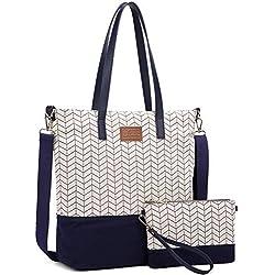 Myhozee Bolsos Mujer Bolsos de Mano Hombro Bolsa de Lona Grande Bolsas de Tela Bolso Señora Tote Bolso Bandolera Shopper (Azul)