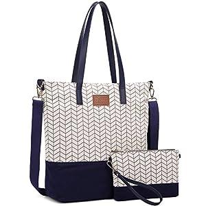 51 tyIGACML. SS300  - Myhozee Bolsos Mujer Bolsos de Mano Hombro Bolsa de Lona Grande Bolsas de Tela Bolso Señora Tote Bolso Bandolera Shopper (Azul)