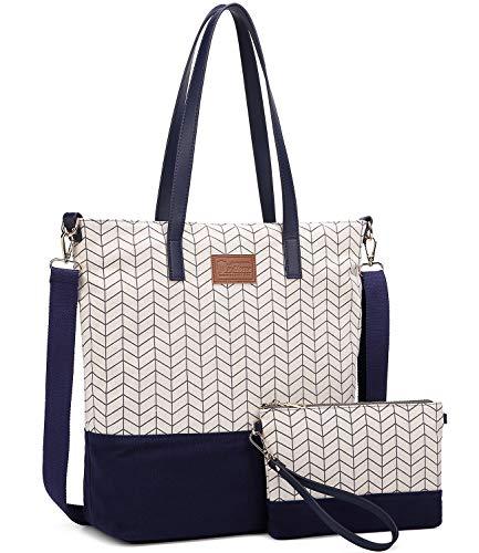 Myhozee Canvas Handtasche Damen Tasche Schultertasche Casual Henkeltaschen Handtaschen Shopper Shopping Bag Umhängetasche Elegant für Alltag Büro Schule Ausflug Einkauf, Blue