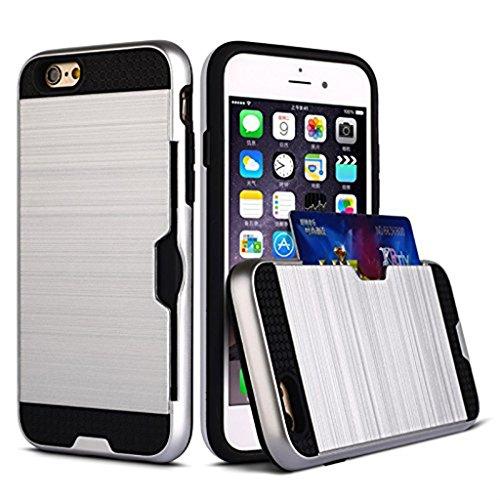 MagiDeal 2 in 1 Metall Handytasche Case Handyhülle Tasche Mit Kartenfach Zurück Deckel Für IPhone 7 / 7 Plus - Schwarz Für IPhone 7 Gold Für IPhone7 Plus