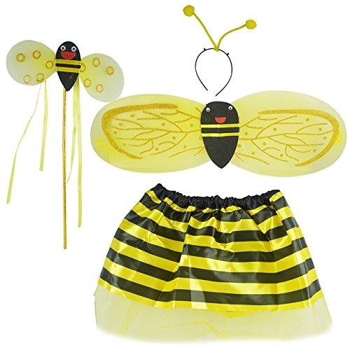 ShiyiUP 4pcs Mädchen Honigbiene Marienkäfer Flügel mit Zauberstab für Party Karneval Fasching Fastnacht Halloween Kinder Kostüm