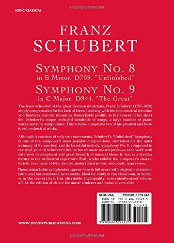 Franz Schubert: Symphony No.8 In B Minor D759, 'Unfinished' And Symphony No. 9 In C Major, D944, 'The Great' (Dover miniature scores)