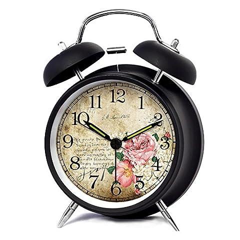 KHSKX Vintage pastorale continental, sourdine Glow light petit réveil, horloges de maison enfants étudiant mignon , 4 inch black