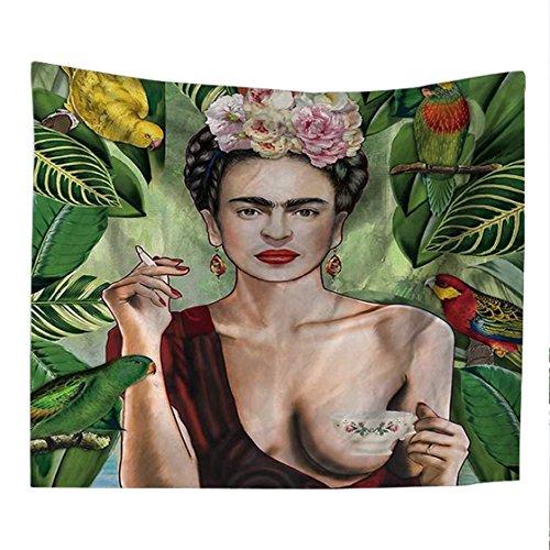 Frida Kahlo Pintor Shemale Tapiz Impresión 3D Dormitorio de la habitación Decoración de Pared Tapiz Toalla de Playa Fondo Paño a Prueba de Polvo, A, 150 * 200cm