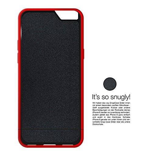 vau - Custodia rigida Snap Case Slider per Apple iPhone 6 e , in due parti smontabili Nero matte black iPhone 6 Rosso - Rosso opaco