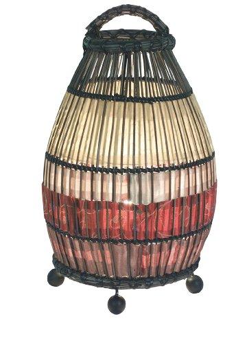 Naeve Leuchten 381098 - Lámpara de mesa decorativa (E14, 40W máximo, 230V, 50Hz, 32,5cm, diámetro de 16,5cm, no incluye bombilla), diseño de ratán, multicolor